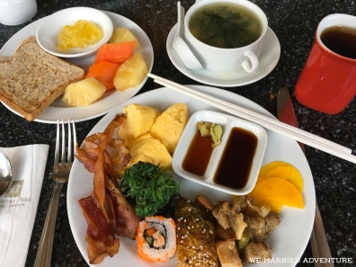 An Asian-style breakfast from the Century Park Hotel buffet.