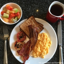A European-style breakfast from the Century Park Hotel buffet.